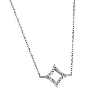 Ženski Lotus Silver Lemnos srebrni Lančić sa kristalnim priveskom Zvezda Severnjača