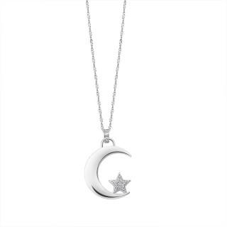 Ženski Lotus Silver Pure Essential Srebrni Lančić Mesec Zvezdica
