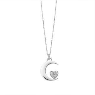 Ženski Lotus Silver Pure Essential Srebrni Lančić Srce Mesec Ljubavi