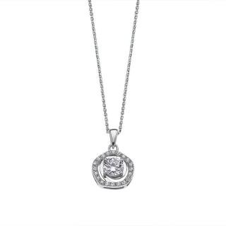 Ženski Lotus Silver Rainbow Srebrni Lančić Kristalni Krug Privezak
