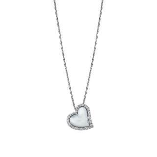 Ženski Lotus Silver Trendy Srebrni Lančić Kristalno Sedef Srce