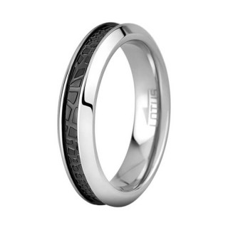 Ženski Lotus Style Steel Rings UŽi Staklo Crni Prsten Od Hirurškog Čelika 54