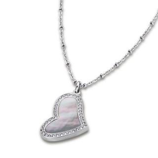 Ženski Lotus Style Woman's Heart Lančić od hirurškog čelika sa bisernim srce priveskom