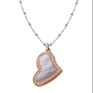 Ženski Lotus Style Woman's Heart Roze Zlatni Lančić od hirurškog čelika sa bisernim srce priveskom