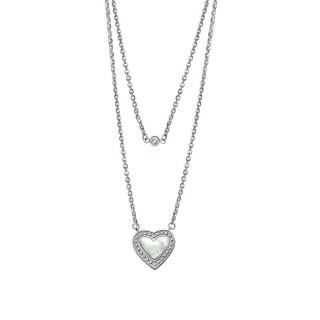 Ženski Lotus Style Woman's Heart Dvostruki Lančić Od hirurškog Čelika Kristalno Sedef Srce