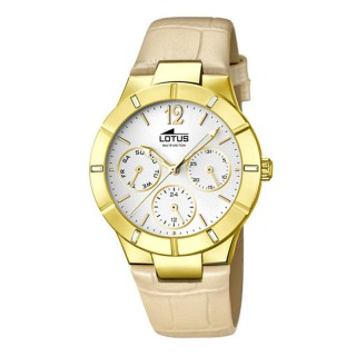 Ženski Lotus Trendy Multifunction Beli Zlatni Elegantni ručni sat sa bež kožnim kaišem