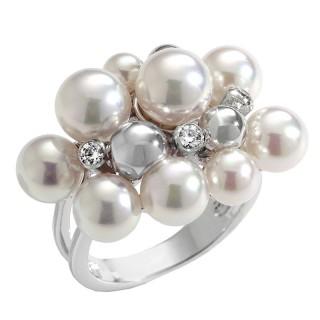 Ženski Majorica Bubbles Beli Biserni srebrni prsten 7 mm 53 mm
