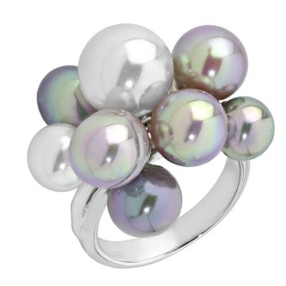Ženski Majorica Bubles Sivi Biserni srebrni prsten 10 mm 55 mm
