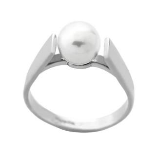 Ženski Majorica Clasico Beli Biserni srebrni prsten 7 mm 53 mm