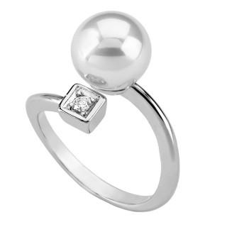 Ženski Majorica Clasico Beli Biserni srebrni prsten sa kristalom 8 mm