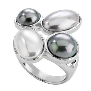 Ženski Majorica Mabe Sivi Biserni srebrni prsten 57 mm