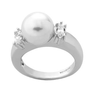 Ženski Majorica Timeless Beli Biserni srebrni prsten 53 mm