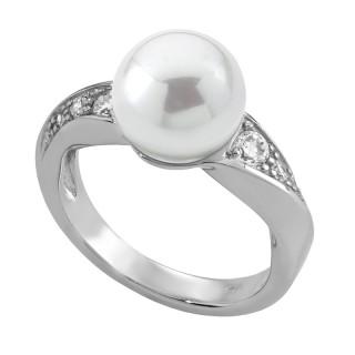 Ženski Majorica Timeless Beli Biserni srebrni prsten 12 mm 53 mm