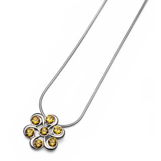 Ženski Oliver Weber Plus Sunflower Lančić sa swarovski žutim kristalnim priveskom