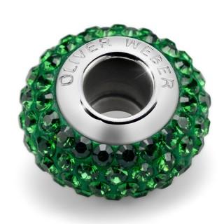 Ženski Oliver Weber Shine thin Steel Dark Moss Green privezak sa swarovski zelenim kristalom za narukvicu