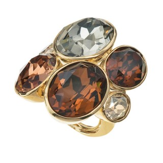 Ženski Oliver Weber Event Gold Topaz Zlatni prsten sa swarovski braon kristalom