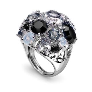 Ženski Oliver Weber Spoty Black prsten sa swarovski sivim kristalom
