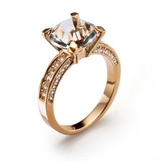 Ženski Oliver Weber Princess Rose Gold Roze Zlatni Prsten Sa Swarovski Belim Kristalom M