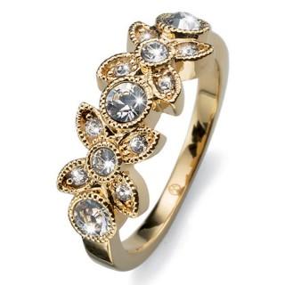 Ženski Oliver Weber Fleur Gold Crystal Zlatni prsten sa swarovski belim kristalom
