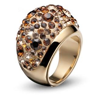 Ženski Oliver Weber Couleur Gold Topaz Zlatni prsten sa swarovski žutim kristalom