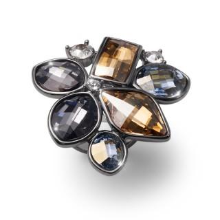 Ženski Oliver Weber Lemon Rutenium Multi One Size prsten sa swarovski žutim kristalom