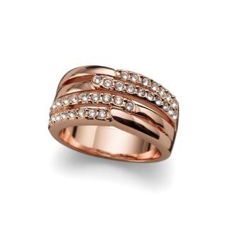 Ženski Oliver Weber Unify Rosegold Crystal Roze Zlatni prsten sa swarovski belim kristalom L