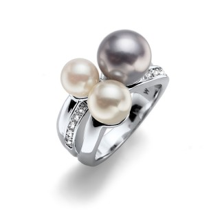 Ženski Oliver Weber Basic Pearl Crystal Prsten Sa Sivom Swarovski Perlom M