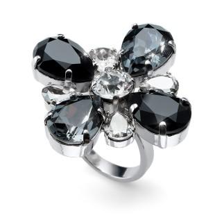 Ženski Oliver Weber Jazzy Black Cvet Prsten Sa Swarovski Crnim Kristalom 55 mm