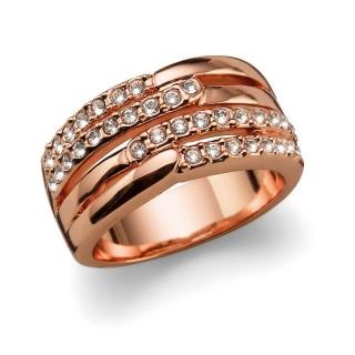 Ženski Oliver Weber Unify Rose Gold Crystal Roze Zlatni Prsten Sa Swarovski Belim Kristalom 55 mm