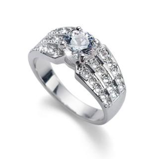 Ženski Oliver Weber Inspire Crystal Zlatni Prsten Sa Swarovski Belim Kristalom 55 mm