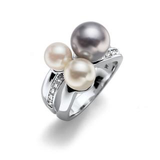 Ženski Oliver Weber Basic Pearl Crystal Prsten Sa Sivom Swarovski Perlom 55 mm