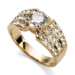 Ženski Oliver Weber Inspire Crystal Zlatni Prsten Sa Swarovski Belim Kristalom 57 mm
