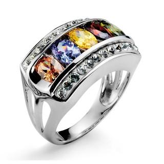 Ženski Oliver Weber Rainbow 925 AG Multi Srebrni prsten sa swarovski žutim kristalom
