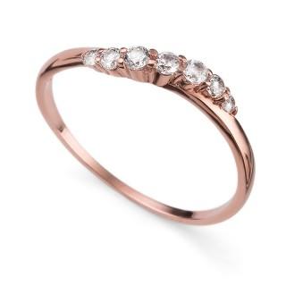 Ženski Oliver Weber Petite 925Ag Rose Gold Cry Roze Zlatni Srebrni Prsten Sa Swarovski Belim Kristalom