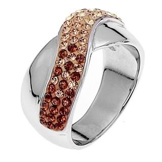 Ženski Oliver Weber Srebrni prsten sa swarovski braon kristalom