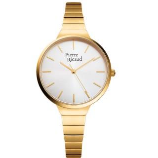 Ženski Pierre Ricaud Quartz Index Beli Zlatni Modni Ručni Sat Sa Zlatnim Metalnim Kaišem