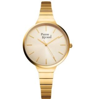 Ženski Pierre Ricaud Quartz Index Šampanj Zlatni Modni Ručni Sat Sa Zlatnim Metalnim Kaišem