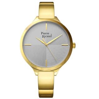 Ženski Pierre Ricaud Quartz Sivi Zlatni Modni Ručni Sat Sa Zlatnim Metalnim Kaišem