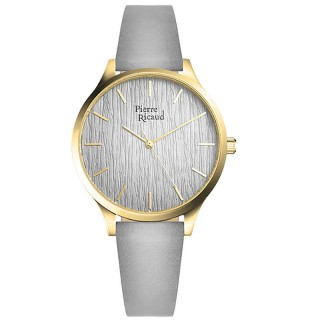 Ženski Pierre Ricaud Quartz Index Wall Sivi Zlatni Modni Ručni Sat Sa Sivim Kožnim Kaišem
