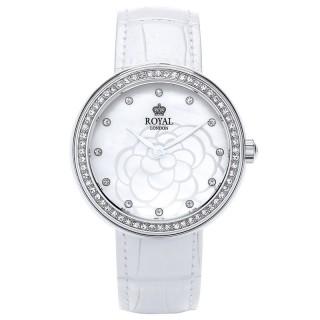 Ženski Royal London Charm Beli Elegantni ručni sat sa belim kožnim kaišem