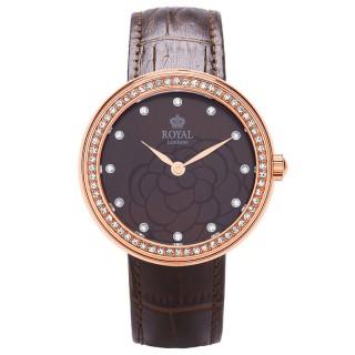 Ženski Royal London Charm Braon Roze Zlatni Elegantni ručni sat sa braon kožnim kaišem
