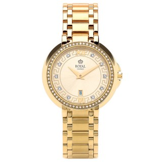 Ženski Royal London Dashing Zlatni Elegantni ručni sat sa zlatnim metalnim kaišem