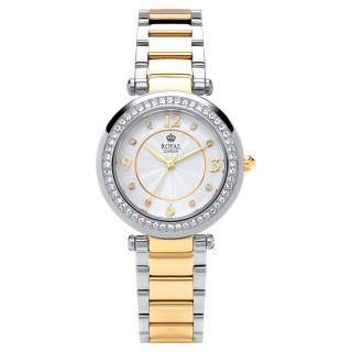 Ženski Royal London Dashing Beli Zlatni Elegantni ručni sat sa bikolor metalnim kaišem