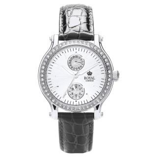 Ženski Royal London Dashing Srebrni Modni ručni sat sa crnim kroko kožnim kaišem