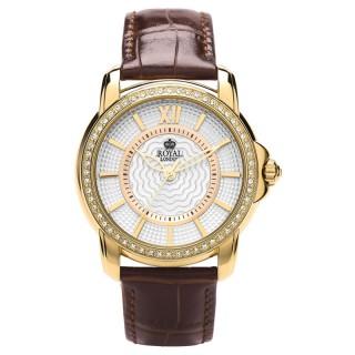 Ženski Royal London Dashing Zlatni Modni ručni sat sa braon kožnim kaišem