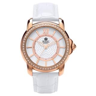 Ženski Royal London Dashing Roze Zlatni Modni ručni sat sa belim kožnim kaišem