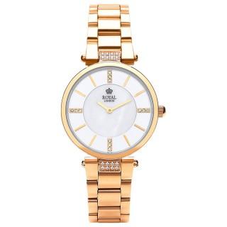 Ženski Royal London Grace Beli Zlatni Elegantni ručni sat sa zlatnim metalnim kaišem