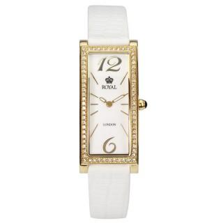 Ženski Royal London Iconic Beli Zlatni Elegantni Kvadratni ručni sat sa belim kožnim kaišem