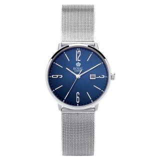 Ženski Royal London Iconic Datum Plavi Elegantni ručni sat sa pancir metalnim kaišem