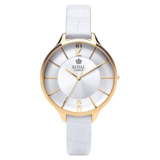 Ženski Royal London Sleek Zlatni Elegantni ručni sat sa belim kožnim kaišem